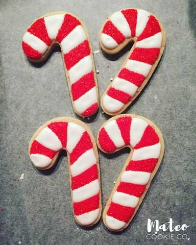 Christmas Candy Canes Decorated Cookies mateocookieco.com