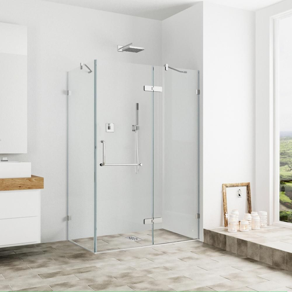 Vigo 32 Inch X 40 Inch Frameless Shower Stall In Clear With Brushed Nickel Frameless Shower Enclosures Glass Shower Enclosures Shower Doors