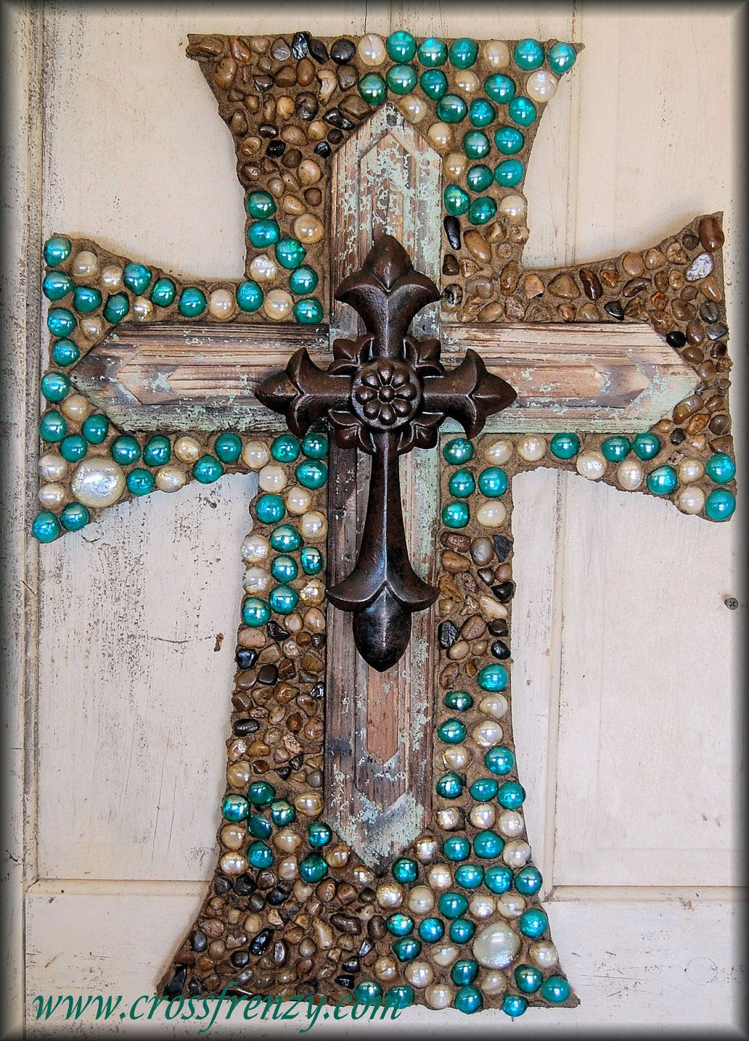 Wall cross beautiful stove and turquoise