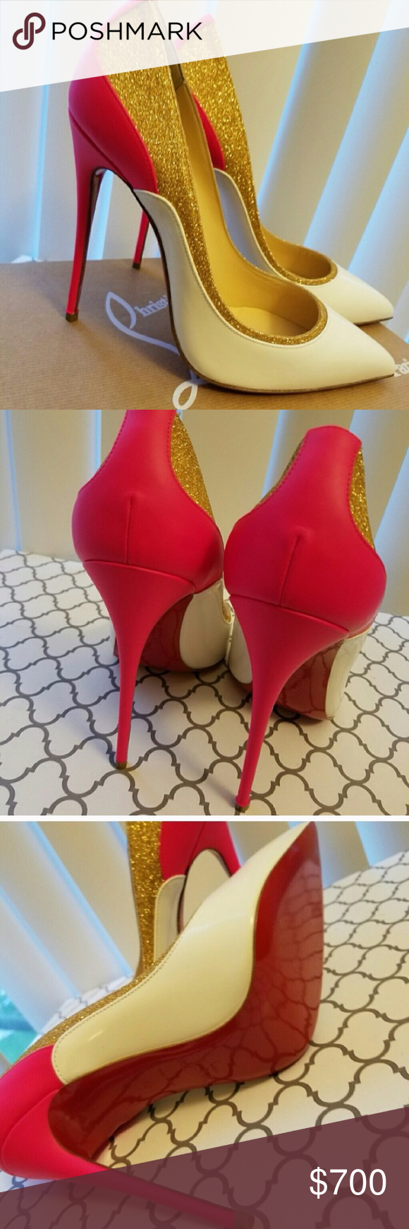 Christian Louboutin 120 mm Tucksic stiletto heels Brand new with box, dust bags, and heel taps. Euro size 40 (10 USA) but runs small. These would best fit a USA size 8 to 8.5 foot. Beautiful white and fuschia leather with gold glitter. Truly a work of art. Smoke free home and in PRISTINE condition. Authentic. Make me a reasonable offer! Christian Louboutin Shoes Heels