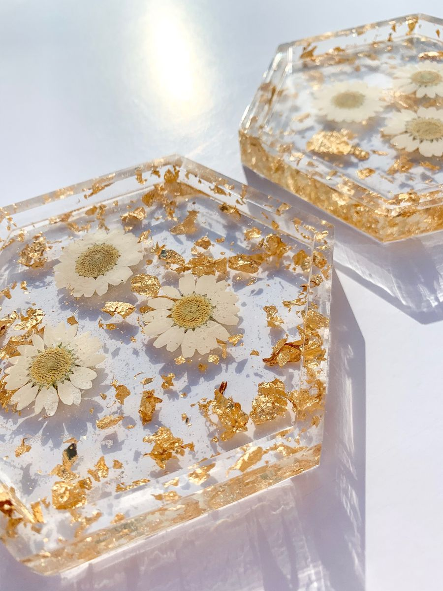 Daisy Resin Coasters