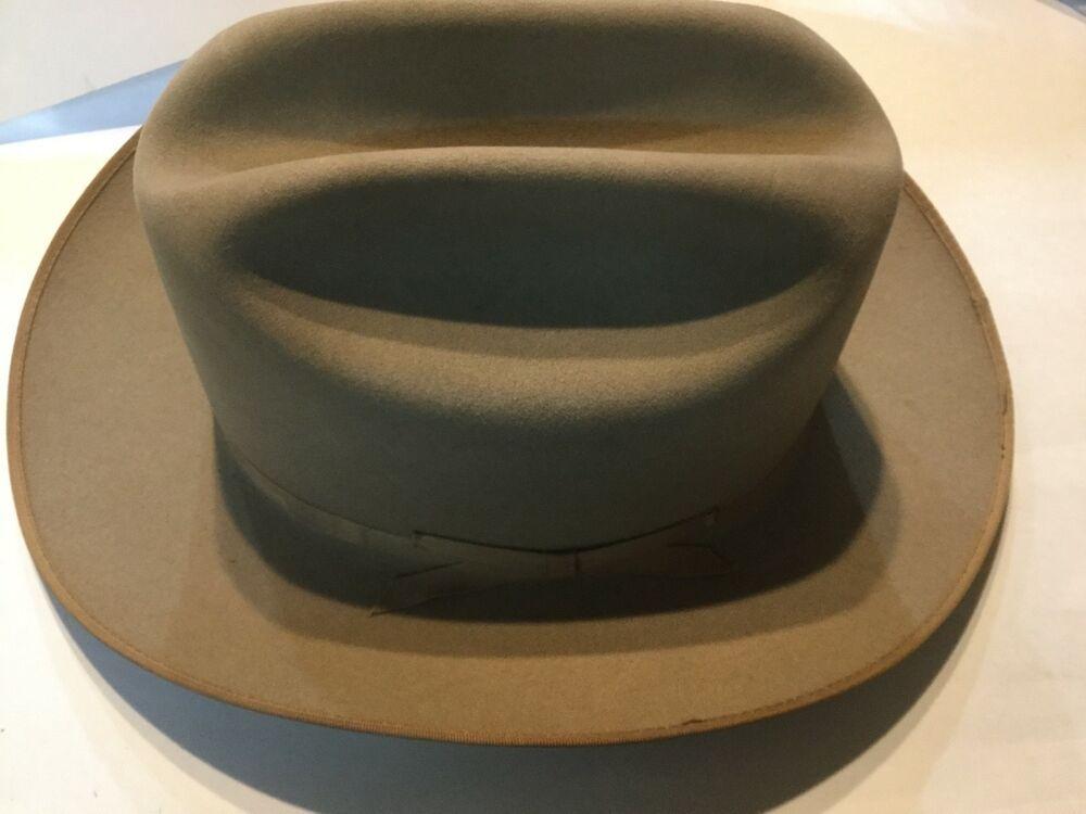 12a73c7a59590 Vintage John B. Company Stetson Beaver 4X Cowboy Hat SZ 7 3 8 Tan ...