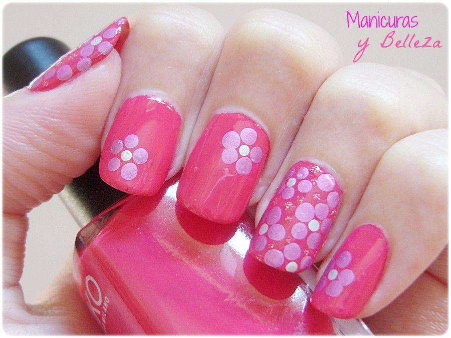 Flores Con 4 Puntos Uñas Maquillaje Manicura Y Pedicura