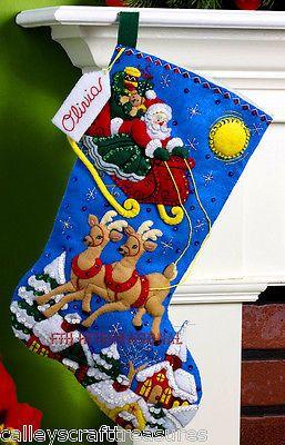 "Bucilla Twas The Night ~ 18/"" Felt Christmas Stocking Kit #86302 Santa New 2012"