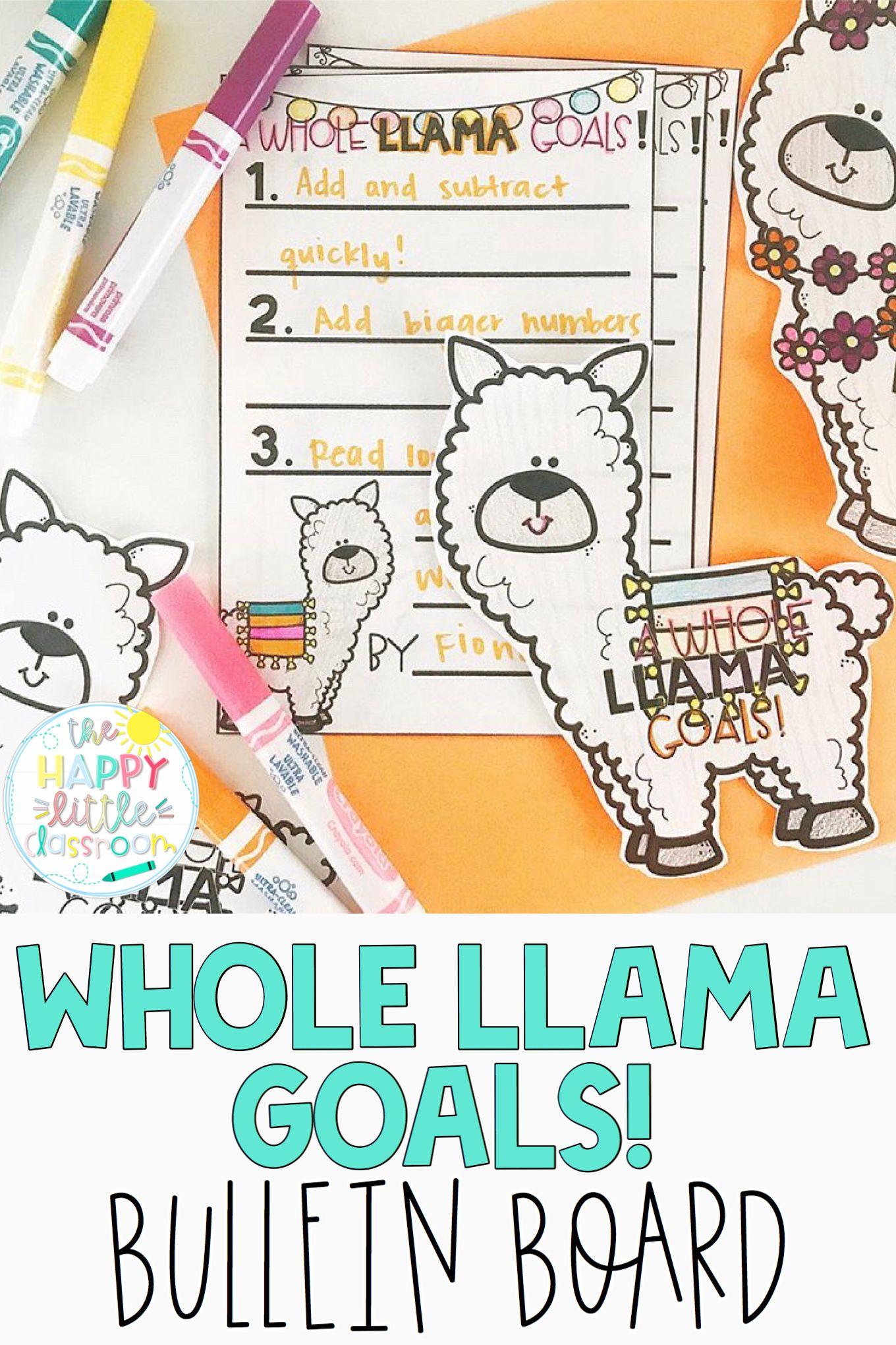 Llama Themed Goal Setting Bulletin Board
