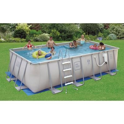 Polygroup - Pro Series 12 Feet x 24 Feet Rectangular 52 Inches Deep Metal Frame Swimming Pool Package - NB2049 - Home Depot Canada