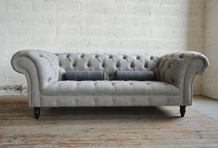 Modern British Handmade Romford Deep Buttoned Chesterfield Sofa, Shown In  Grey Wool. Extra Deep 3 Seater. | Abode Sofas