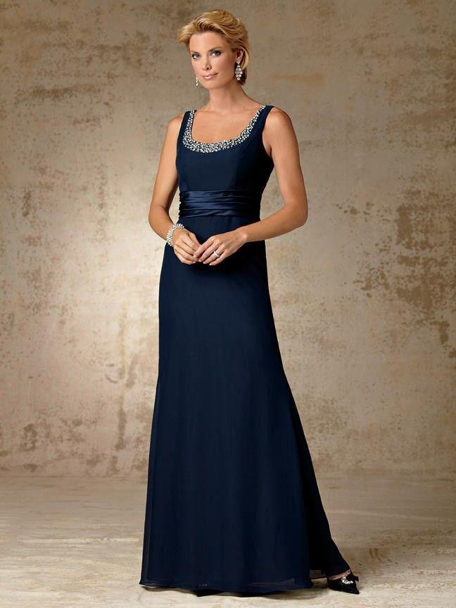 Günstige perlen hals a line chiffon navy blue mutter der braut kleid ...