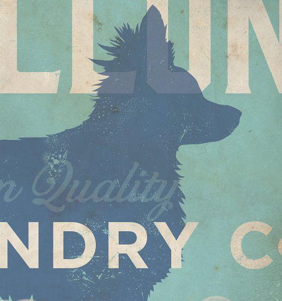 Papillon Dog laundry company laundry room artwork by geministudio