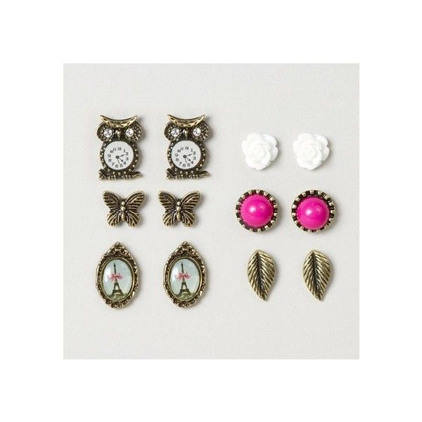Assorted Vintage Gold Stud Earrings – Claire's ($11) found on Polyvore