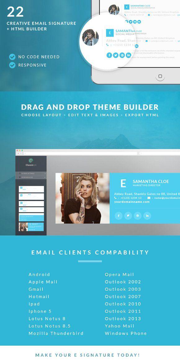 Responsive Email Signature + Builder @creativework247   Email Design
