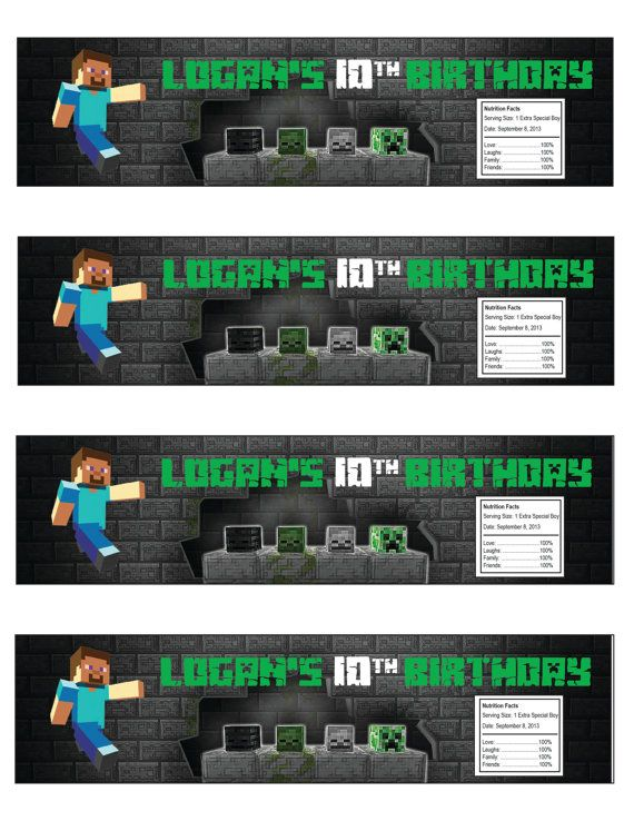 Minecraft Water Bottle Label Printable File by JPixels on Etsy - water bottle label template