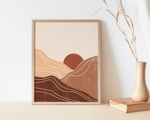 Rust Sun Art Print Neutral Mountains Wall Print Abstract Etsy Neutral Wall Art Boho Wall Art Diy Canvas Art