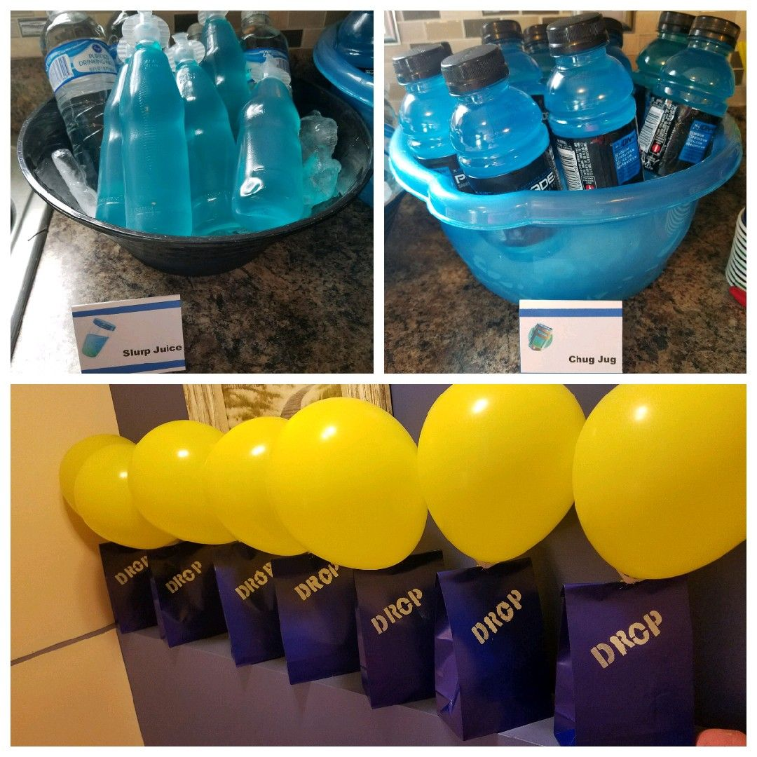 Fortnite Birthday Party Ideas Supply Drop Goody Bags And Slurp Juice Mini Potion Drinks