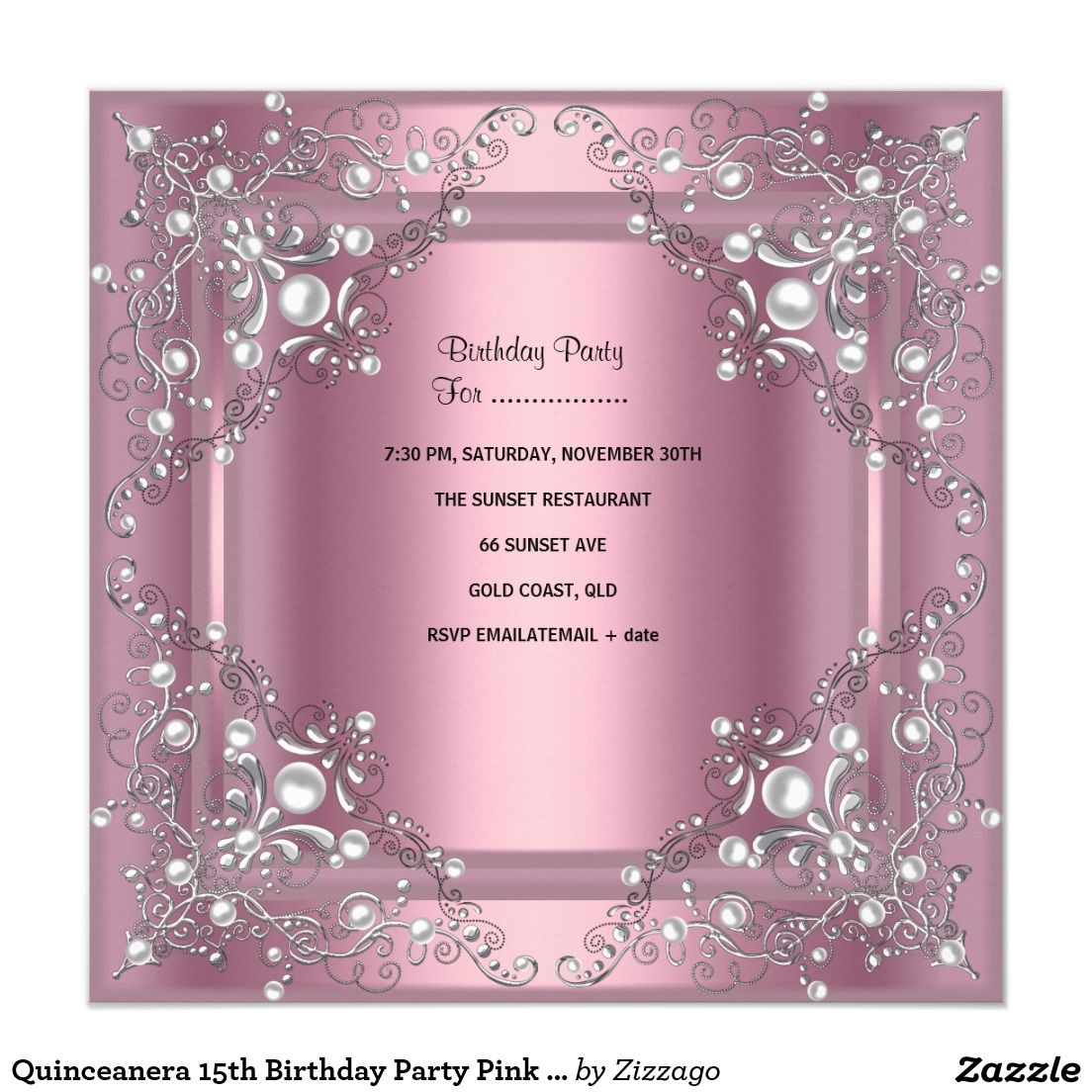 Quinceanera 15th Birthday Party Pink Pearl Invitation