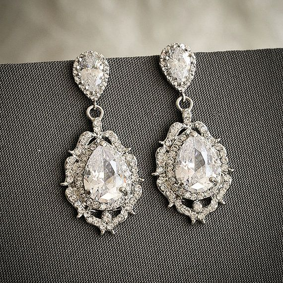 Bridal Wedding Earrings Art Deco Crystal Chandelier Old Hollywood Jewelry Zirconia Teardrop Libby