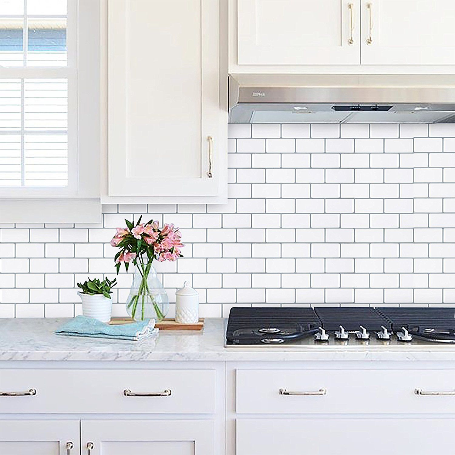Amazon.com: Peel & Stick Tile Backsplash in Pearl White Subway (4 ...