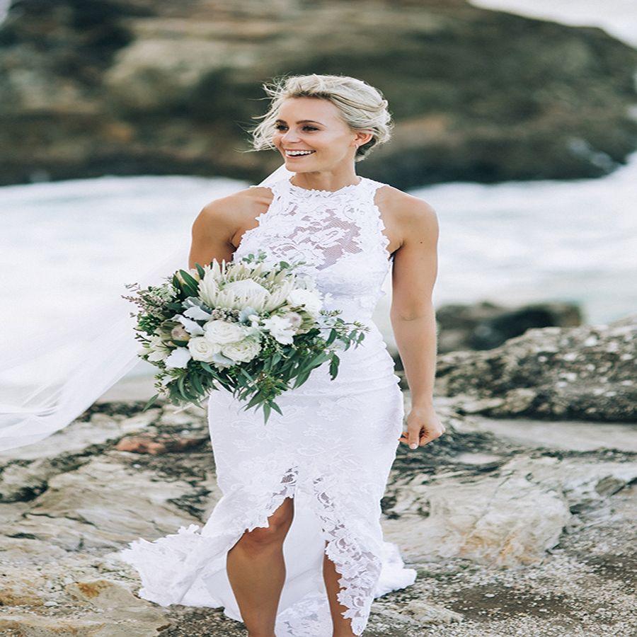 Beach lace white wedding dresses with front split vestido de novia