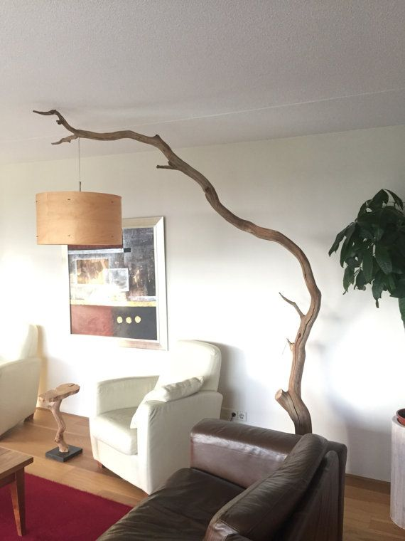 vloerlamp van verweerde eiken tak inclusief lampenkap