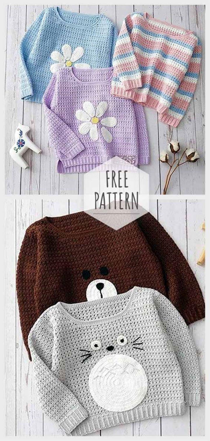 Kinder Pullover Häkelanleitung, #crochetblusas #hakelanleitung #kinder #pullover