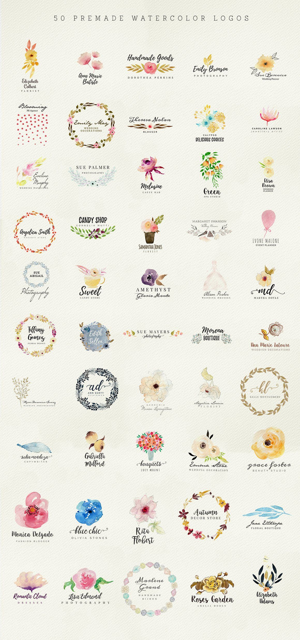 50 Premade Watercolor Logos Watercolor logo, Floral logo