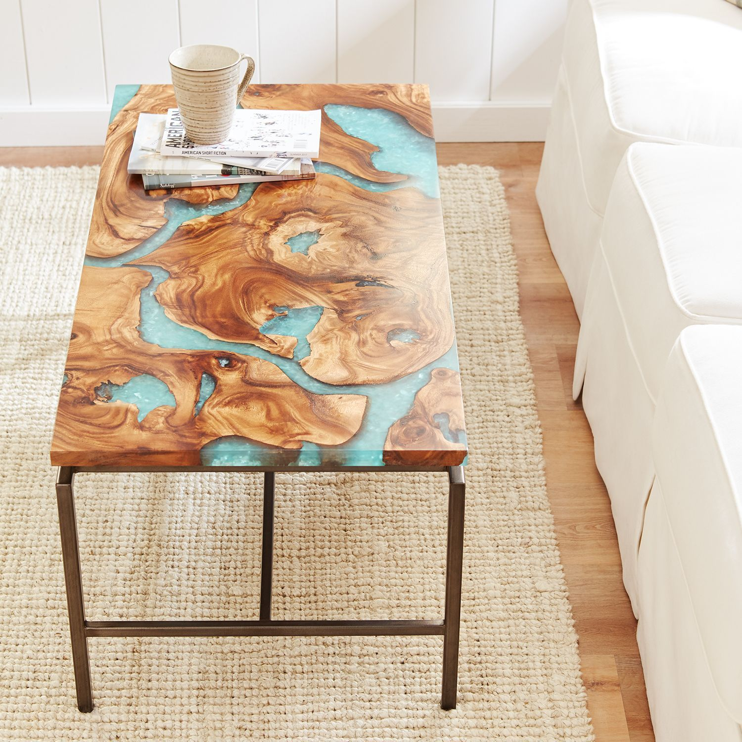 Moraine Wood Teal Resin Coffee Table Pier 1 Imports Round