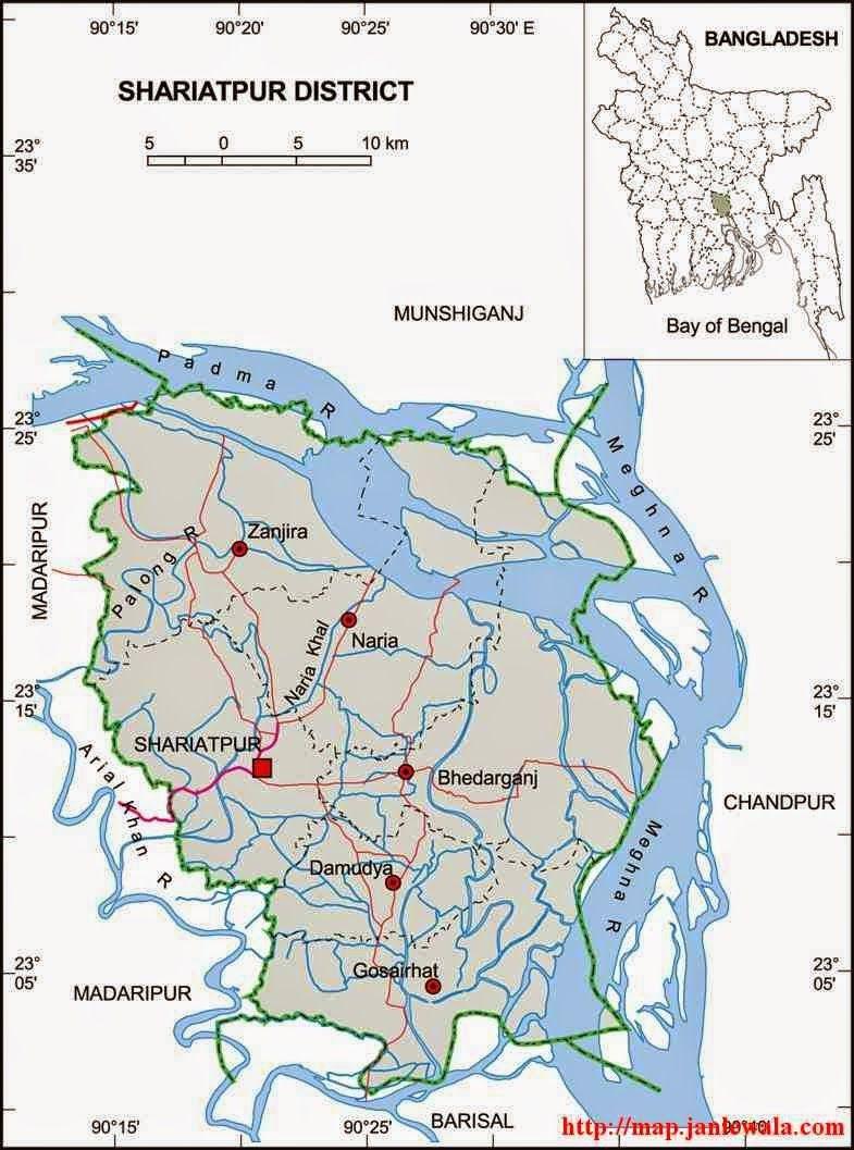 Shariatpur Zila Map Dhaka Division Bangladesh Maps Of - Map of dhaka division bangladesh