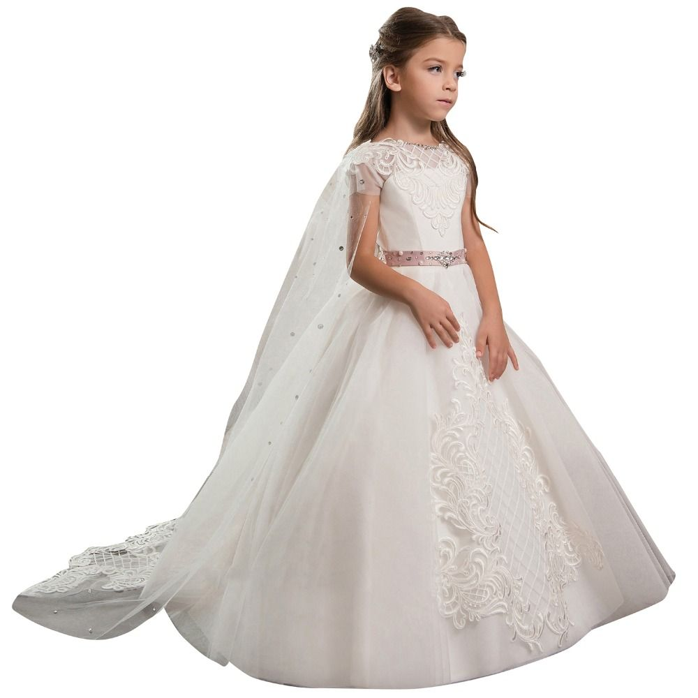 Click To Buy Ball Gown Dress For Wedding Kids White 2017 Applique