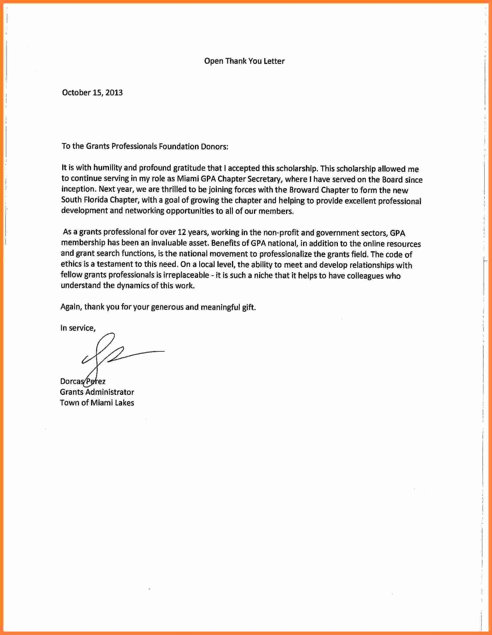 Scholarship Thank You Letter Examples Lovely 7 Thank You Note For Scholarship Thank You Letter Template Scholarship Thank You Letter Thank You Letter