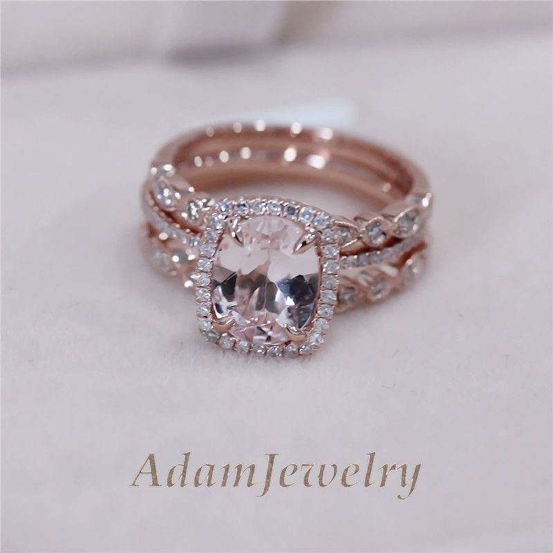 3 Rings Set Vs 7x9mm Pink Morganite Wedding Matching Band 14k Rose Gold