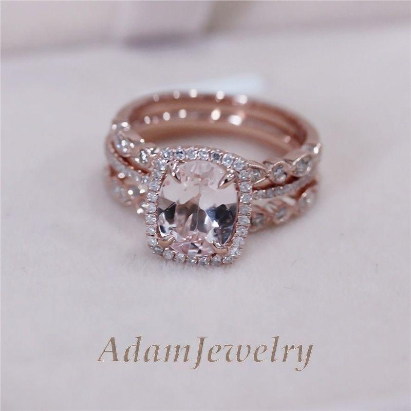3 rings set vs 7x9mm pink morganite wedding set matching band 14k rose gold - Morganite Wedding Rings