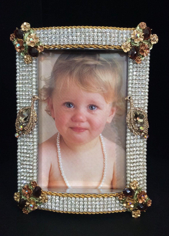 4x6 Unique Crystal Picture Frame Fancy Embellished Picture Frame ...