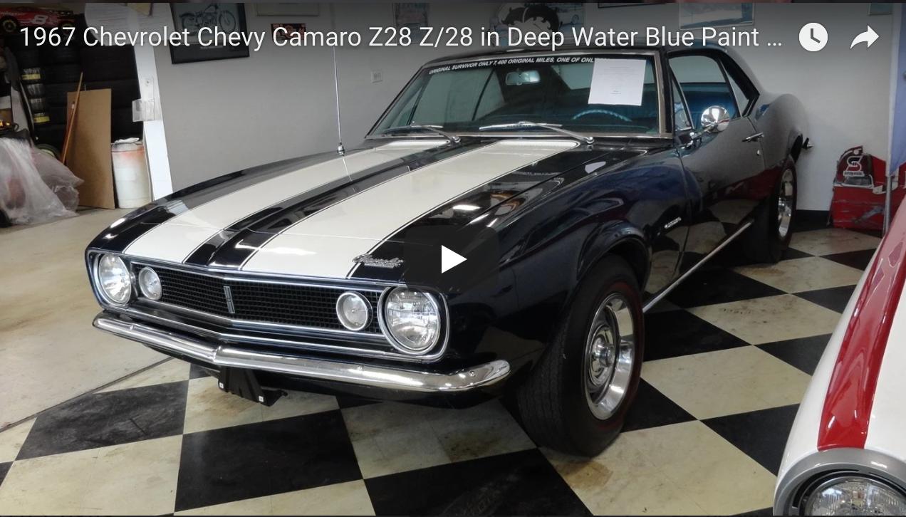 1967 Chevrolet Chevy Camaro Z28 Z 28 In Deep Water Blue Paint