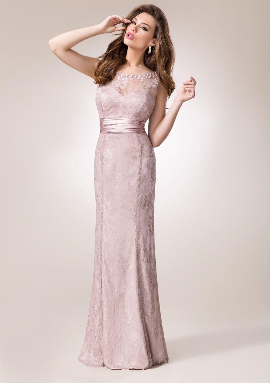 ZEILA DONNA 9212  Vestido de fiesta largo en encaje, con detalles de cristal en escote y fajín en satén