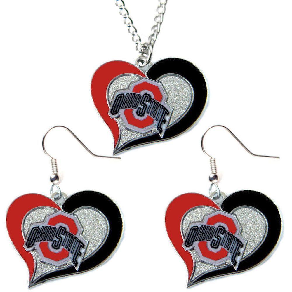 Ohio state buckeyes womenus swirl heart necklace u earrings set