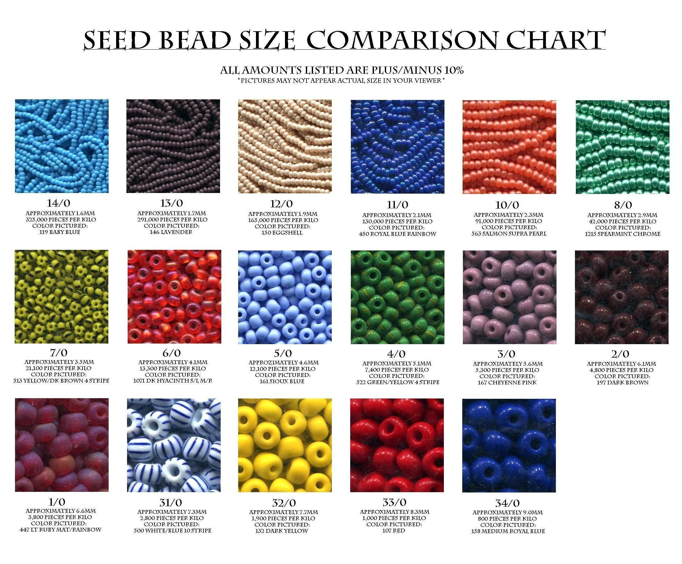 graphic regarding Printable Seed Bead Size Chart identified as Seed Bead Dimensions Comparison Chart Equipment Bead measurement chart