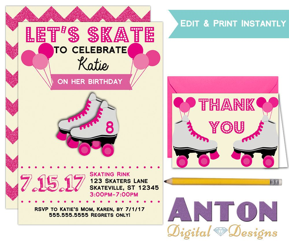 Printable Girls Roller Skating Birthday Party Invitations