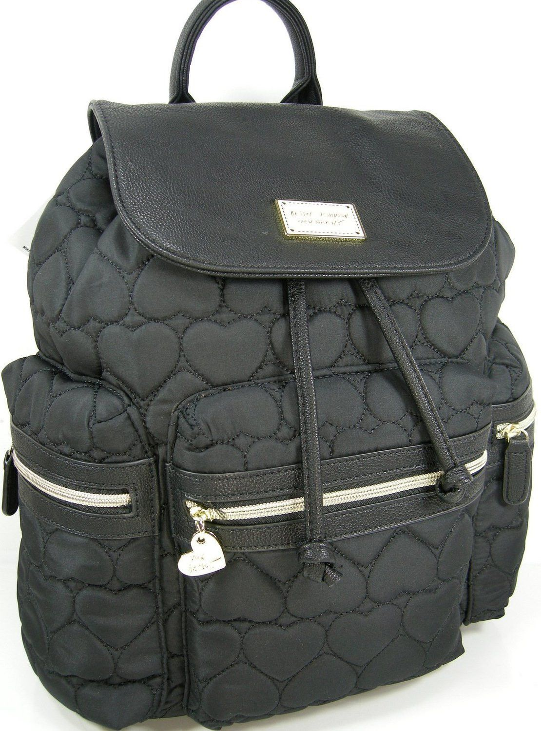 Betsey Johnson BR21875 Puffy Quilted Hearts Logo Flap Backpack in Black 43255641bc824