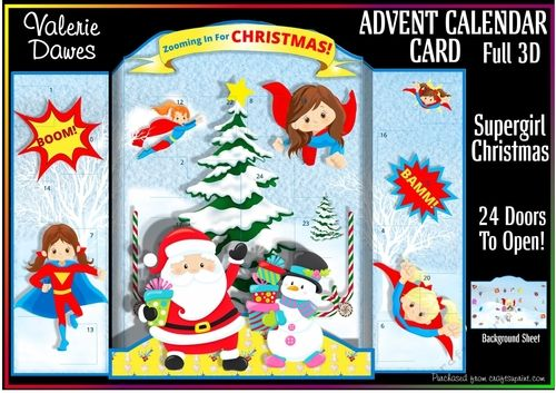 ADVENT CALENDAR CARD - Supergirl Christmas! by Valerie Dawes A range