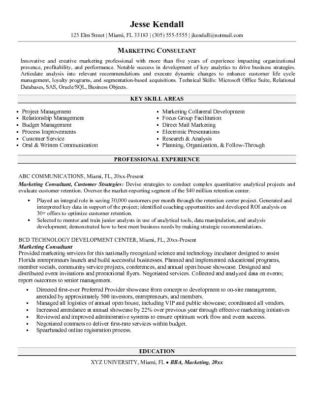 Marketing Consultant Resume -    jobresumesample 550 - monster resume writing service