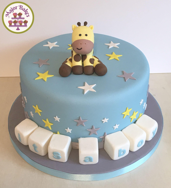 Giraffe blue baby shower cake Celebration cakes by Major Bakes