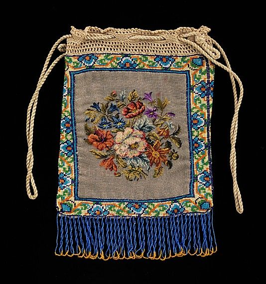 Pouch 1830-60 French. Silk, glass and linen