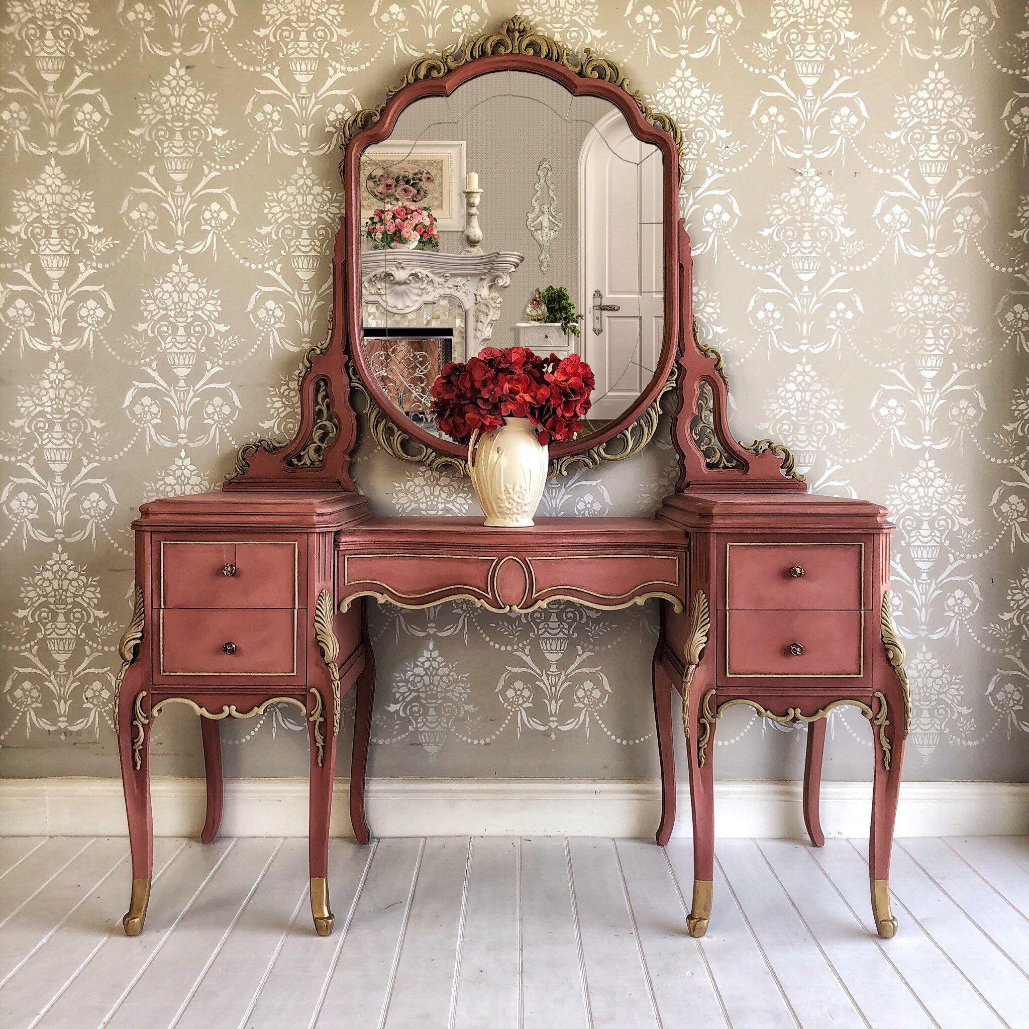 Upcycled Vintage Vanity Makeup Table Painted Furniture