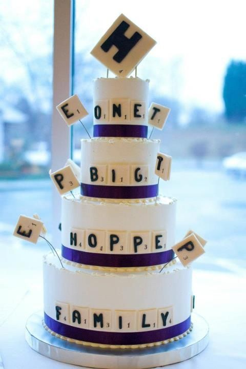 Magpies Bakery Knoxville, TN Buttercream Wedding Cake With Fondant Scrabble  Theme. #custom #scrabble #purple #ribbon #wedding #weddingcake #love