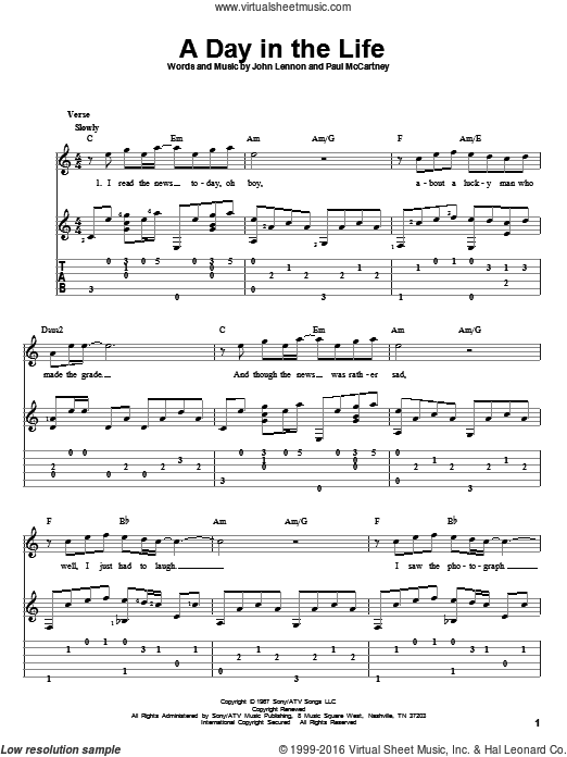 Beatles A Day In The Life Sheet Music Intermediate For Guitar Solo Fingerstyle Guitar Lessons Guitar Lessons Fingerpicking Guitar Lessons Tutorials