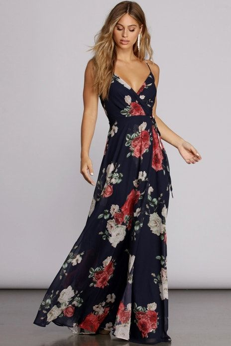 Marlena Floral Chiffon Gown Floral Dresses Long Floral Dress Outfits Floral Chiffon