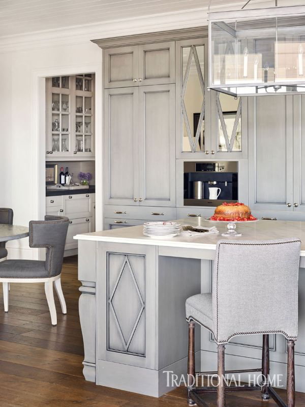 Holiday Home Shimmering In Blue And Lavender Gray Cabinets