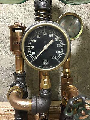 Steampunk lamp vintage brass and copper parts industrial brass pressure gauge steampunk - Steampunk pressure gauge ...
