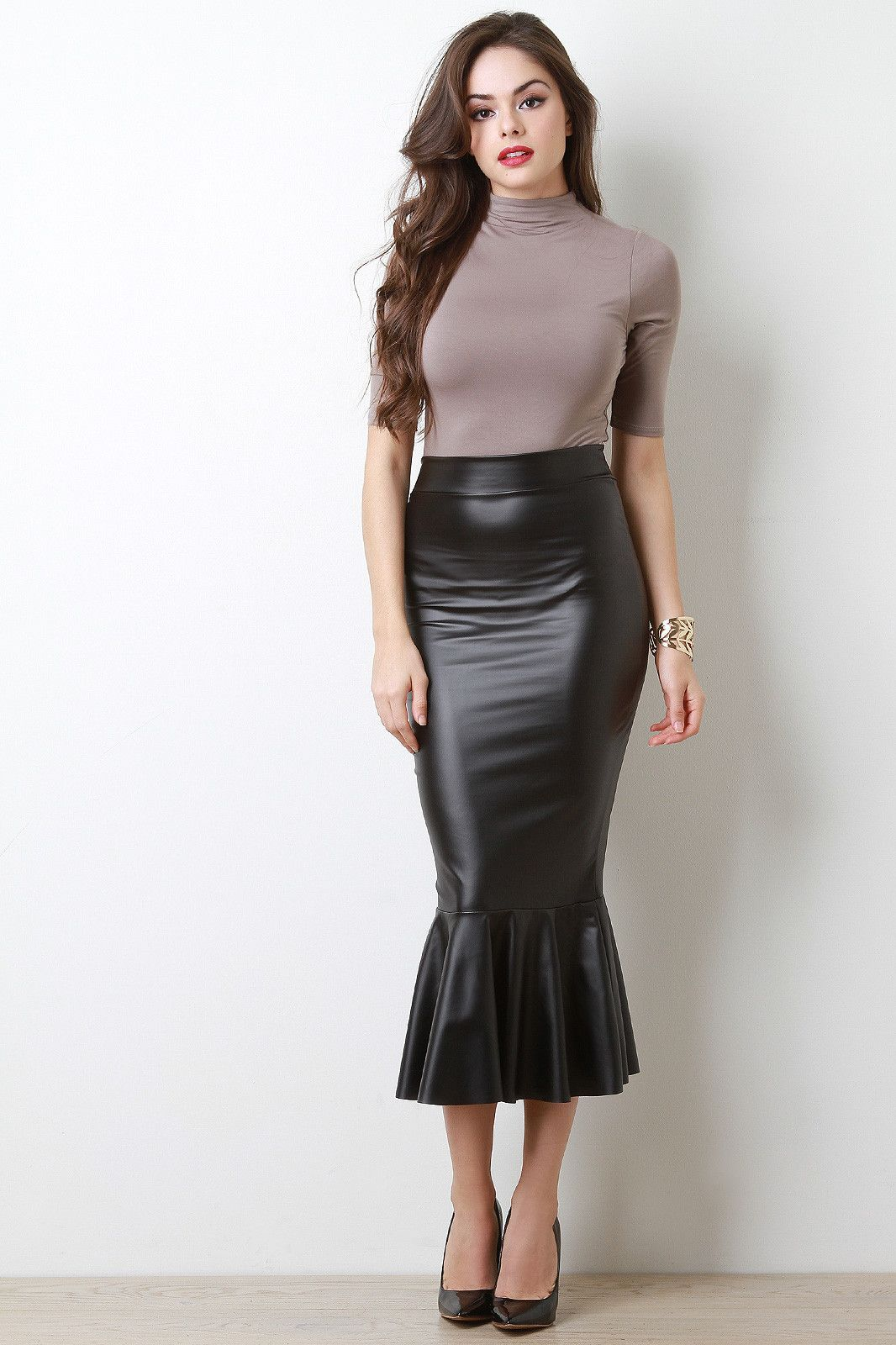 6fe1b315e2ee Vegan Leather Mermaid Midi Skirt