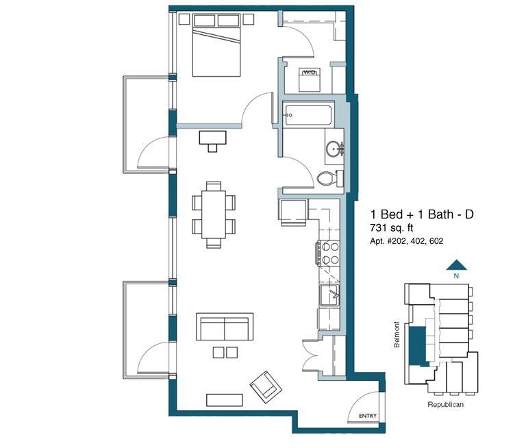 Diseño de planos de departamentos pequeños de un dormitorio ...